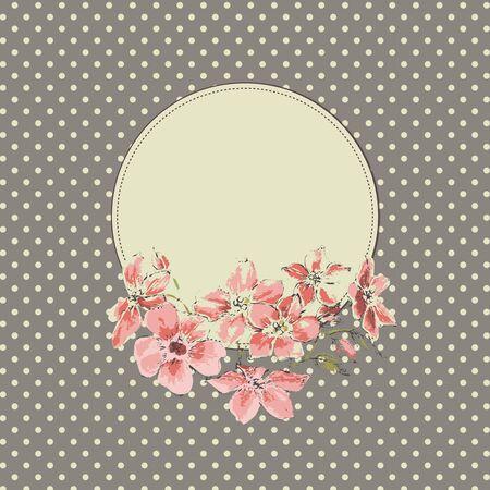 vintage floral: Vintage floral round frame