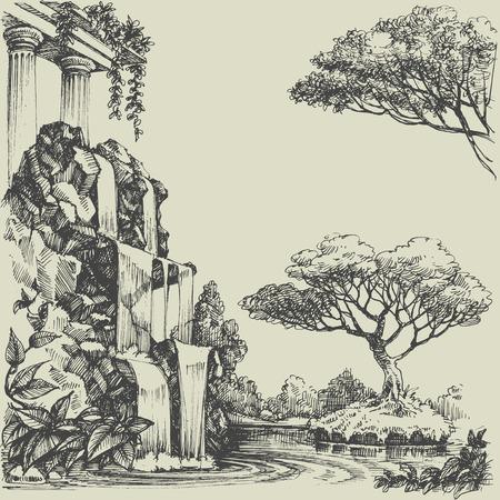 boceto: Río en el parque, hermosa cascada y el paisaje Vectores