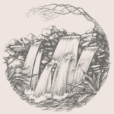 Waterfall round drawing