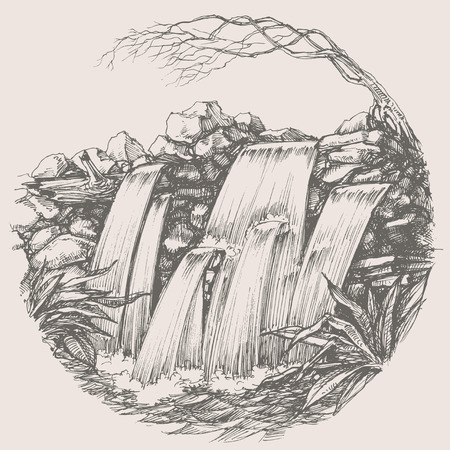 waterfall river: Waterfall round drawing