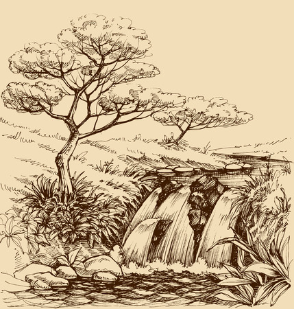 waterfall river: Waterfall landscape