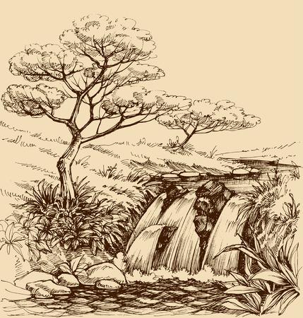 draw well: Waterfall landscape