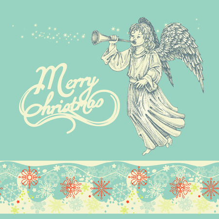 christmas angels: Christmas angel greeting card