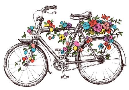 vintage: Bicicleta com flores, elemento de design para convites do casamento ou chá de panela