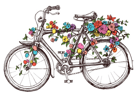 bike: Bike with flowers, design element for wedding invitations or bridal shower