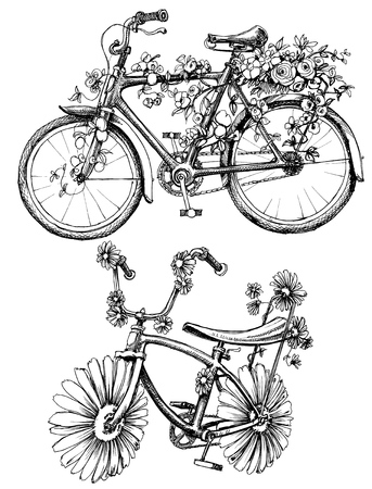 Floral bikes drawing set Stock Illustratie