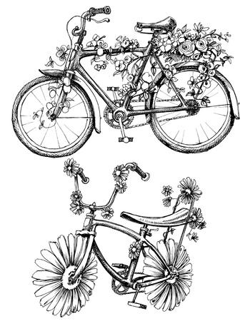 flower basket: Floral bikes drawing set Illustration