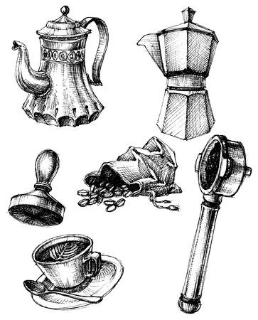 coffee sack: Coffee and coffee making set, retro style