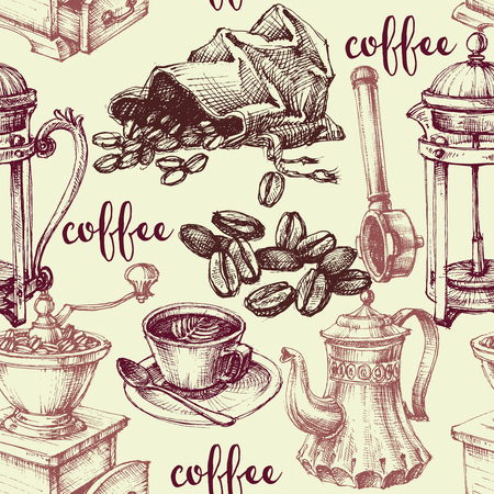 coffee beans background: Vintage coffee seamless pattern Illustration