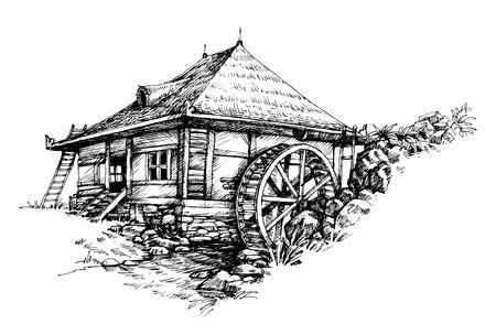molino de agua: Watermill mano dibujado ilustraci�n art�stica