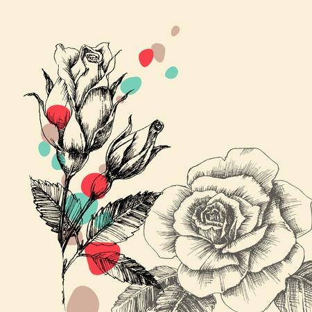 gocce di colore: Biglietto di auguri floreale, rose disegnate a mano retr� con gocce di colore