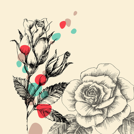 buds: Floral greeting card, retro hand drawn roses with color drops Illustration