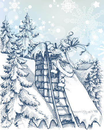 snow scene: Christmas scene, Santa climbing a chimney Illustration
