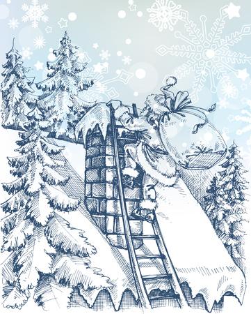 botas de navidad: Escena de Navidad, Santa que sube una chimenea Vectores