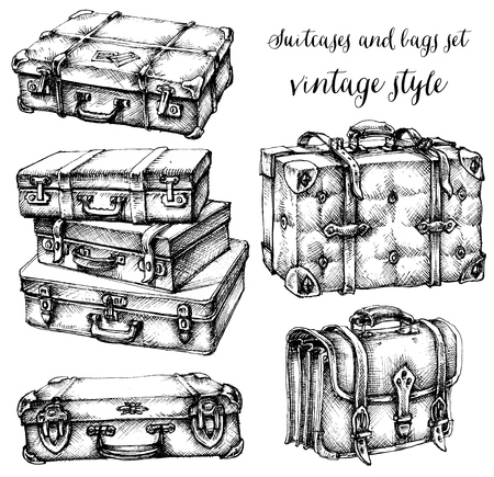voyage vintage: Valises et sacs, icône, ensemble, tiré par la main dans le style vintage