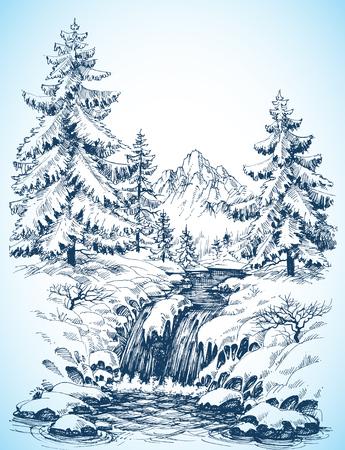 dibujo: Paisaje nevado invierno, bosque de pinos y el río en el dibujo montañas