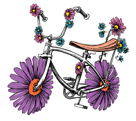 cute: Bike with flowers Illustration