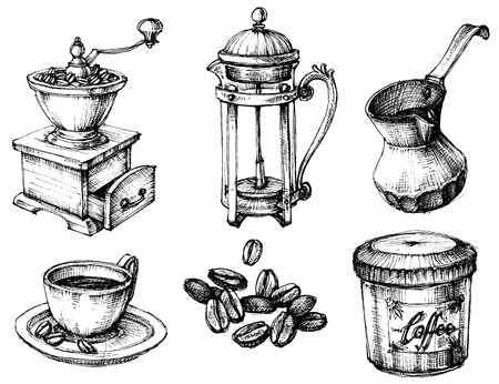 Koffie pictogrammen hand getekende set