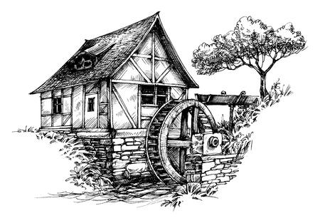 molino de agua: Antiguo molino de agua del bosquejo Vectores