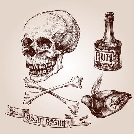 sombrero pirata: conjunto pirata, cráneo y bandera pirata, sombrero de pirata y una botella de ron