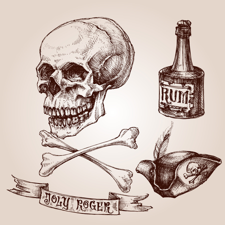 crossbones: Pirate set, skull and crossbones, pirate hat and a bottle of rum Illustration