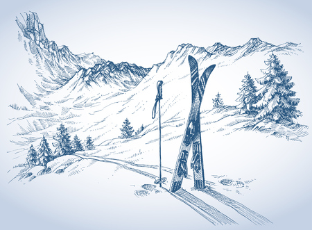 draw: Ski background, mountains in winter season