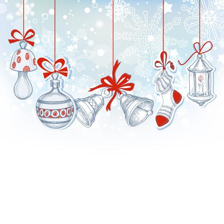 festive background: Christmas ornaments festive background