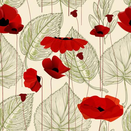 ポピー花のシームレス パターン  イラスト・ベクター素材