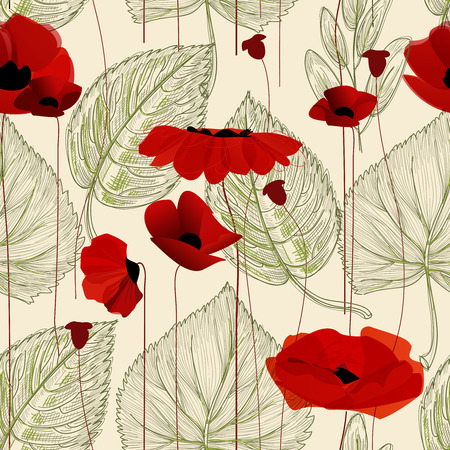 red floral: Floral seamless pattern, poppy Illustration