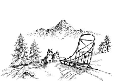 Invierno paisaje de montaña, perros husky trineo Ilustración de vector