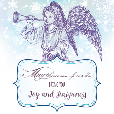 archangel: Christmas angel greeting card with frame for text Illustration