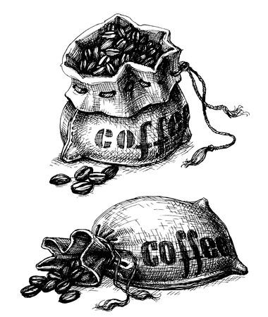 chicchi di caff?: Della tela da sacco di caffè Vettoriali