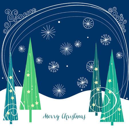christmas trees: Christmas trees background Illustration