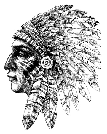 Native american indian warrior profile with war headdress, t-shirt design Çizim