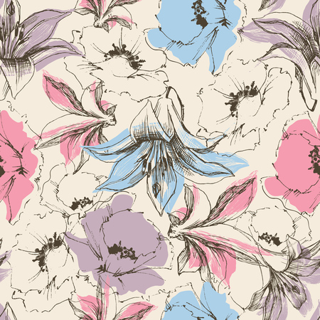 Floral seamless pattern, lilies and poppy print on paper or textile support