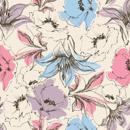 textil: Sin patrón floral, lirios y de impresión de la amapola en papel o soporte textil
