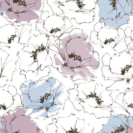 black outline: Floral background, flower seamless pattern
