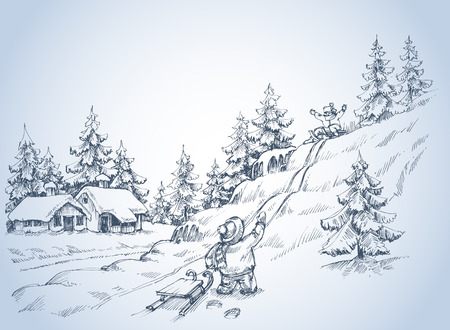 snow track: Winter background, children at play in the snow, pine forest sketch