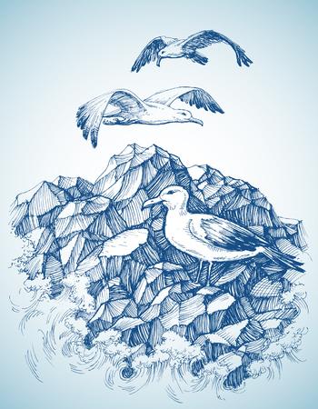 etch: Seagulls over rocky sea shore etch, label design