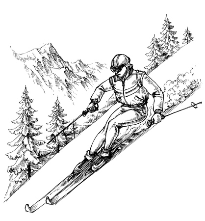 Skier in mountains landscape