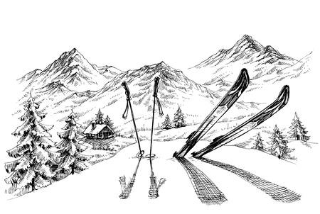 Vacances au ski de fond, les montagnes panorama sur le croquis d'hiver