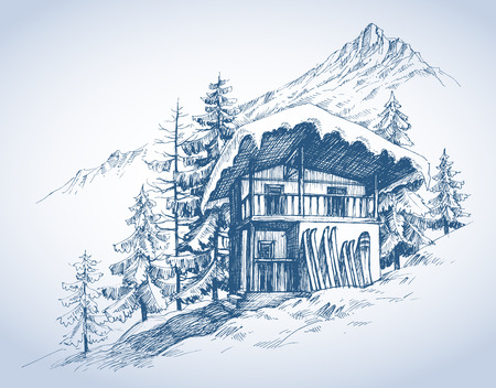 drawing trees: Ski hut in mountains resort