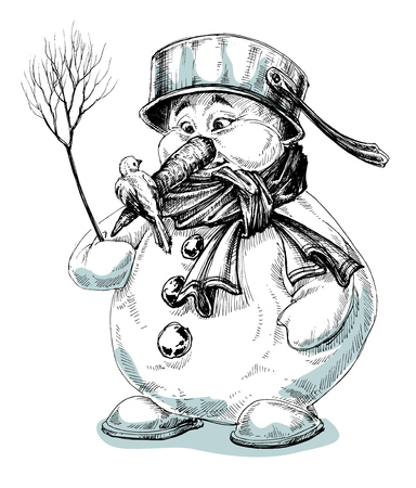 snowman isolated: Funny cartoon snowman isolated drawing