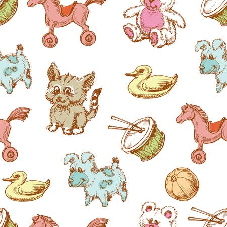 for children: Toys background, seamless pattern for children