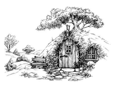 숲 스케치에 왜소한 집 일러스트
