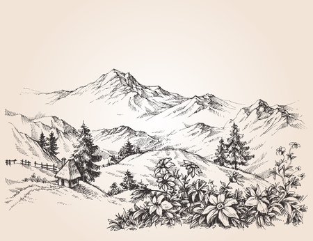 山の風景スケッチ  イラスト・ベクター素材