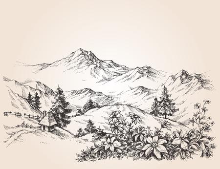 dessin fleur: Montagnes paysage croquis Illustration