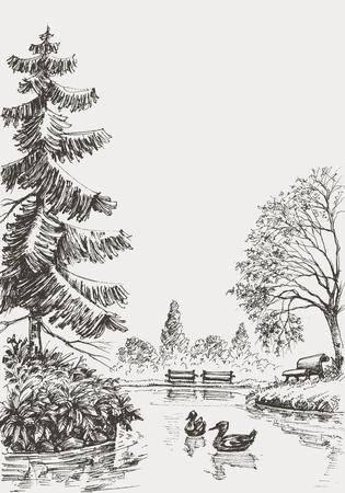 sketched: Park sketched illustration Illustration