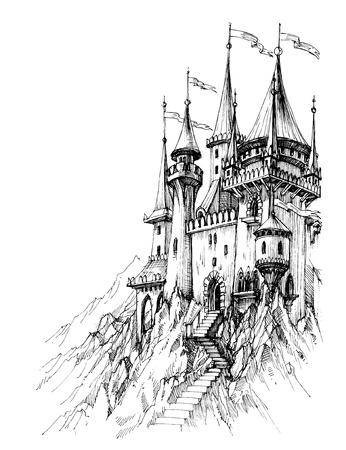 fairy castle: A fairytale castle in mountains