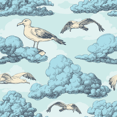Sky seamless pattern, clouds and birds